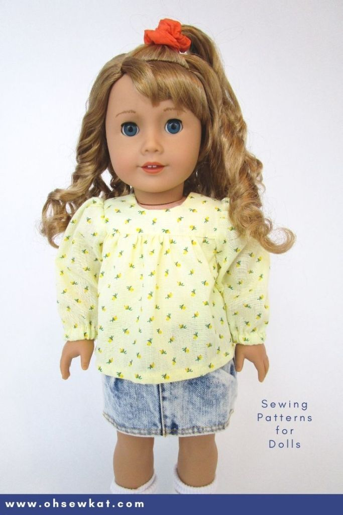 Step it Up Series: Long Sleeve 70s or 80s Style Blouse for Dolls