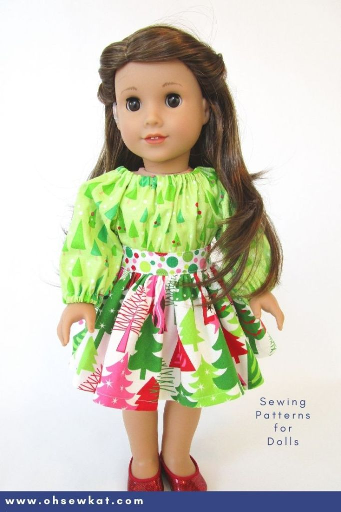 Use the fun to sew Party Time Peasant Dress PDF sewing pattern to make your own DIY 18 inch doll clothes. Also available in other sizes in the OhSewKat etsy shop, download and print this easy pattern tutorial today.