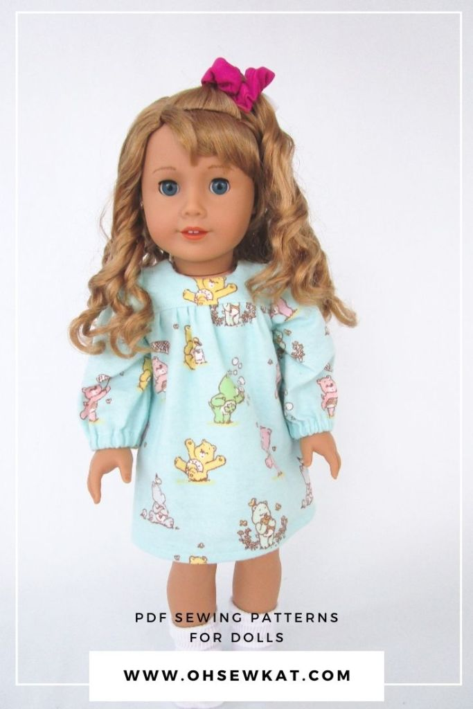 Make your 18 inch Courtney Moore American Girl doll a Care bears nightgown with the easy to sew Bloomer Buddies PDF sewing pattern from the Oh Sew Kat! Etsy Shop. Available in other doll sizes too!