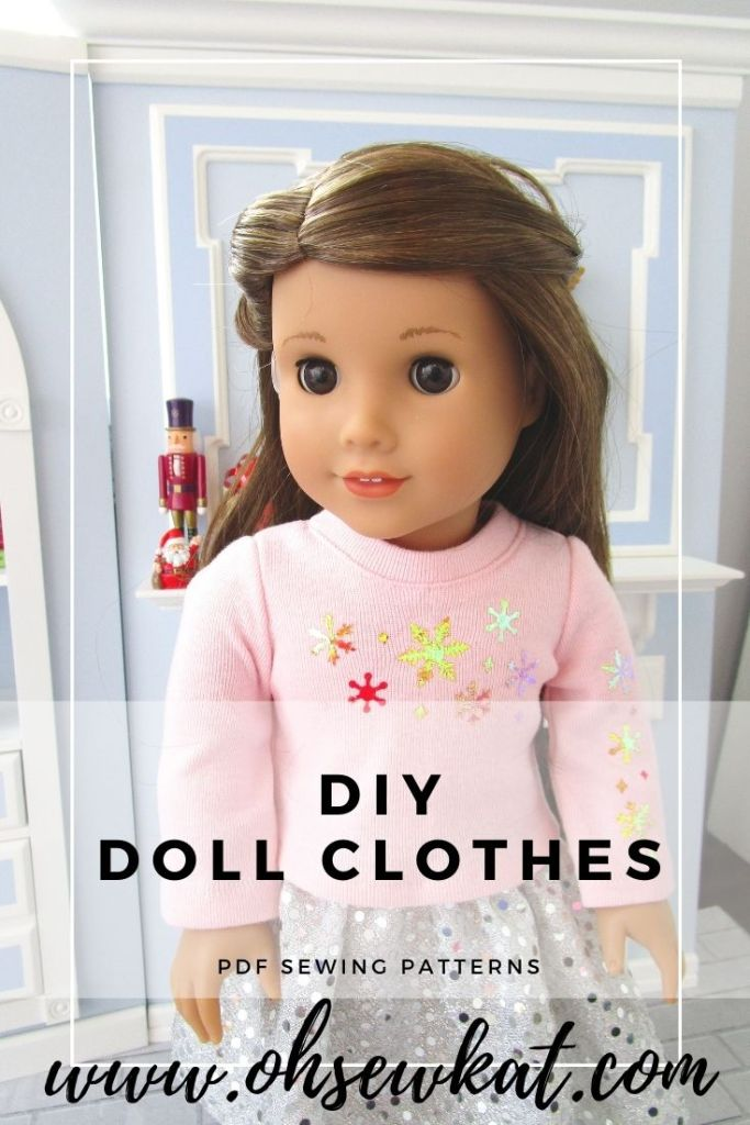 Create your own modern fashion doll clothes for your 18 inch dolls like American Girl with easy to sew PDF print at home sewing patterns from Oh Sew Kat! Make your own version of the pink snowflake shirt and silver sparkle skirt with your cricut and sewing machine.