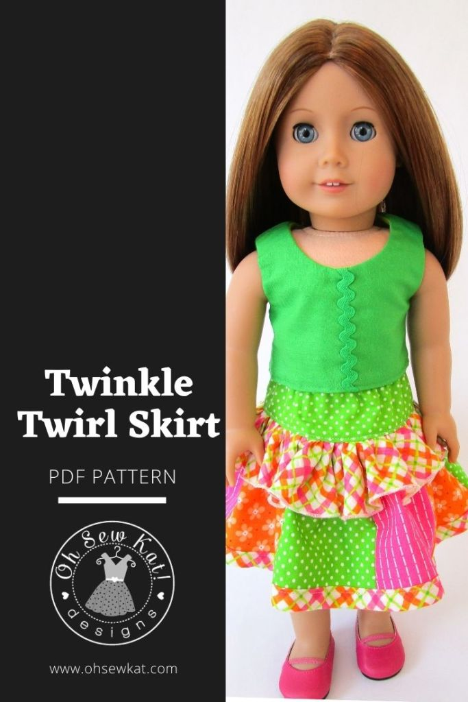 Use the Oh Sew Kat! Pdf pattern Twinkle Twirl Skirt to make a fun, patchwork doll skirt. Easy to sew, download and print at home beginning level sewing patterns to DIY your own doll clothes. Fits American Girl, Bitty Baby, Welliewishers, A Girl for All Time, Animators.