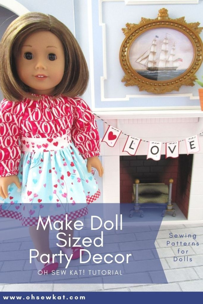 Easy doll craft! Make a doll sized banner to decorate your 18 inch Doll's Valentine's Day party. Use your cricut or cutting machine for quick and easy American Girl doll party decorations.
