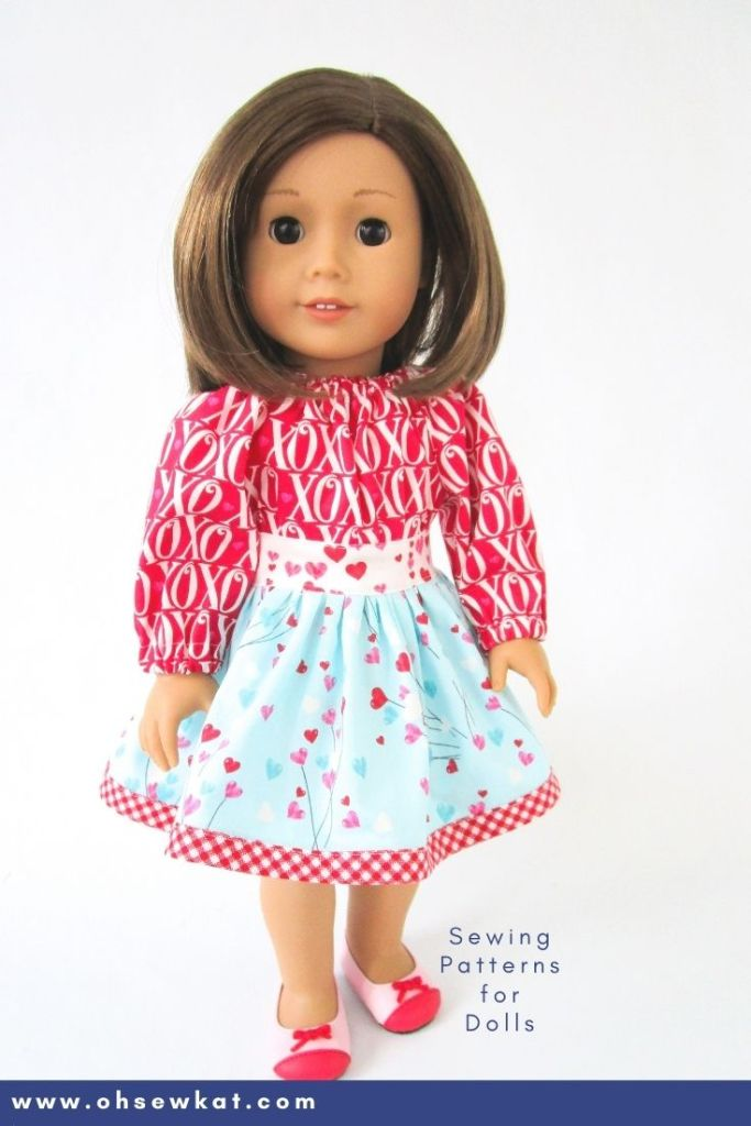 Show your 18 inch doll some love this Valentine's Day with the easy to sew Party Time Peasant Dress sewing pattern for American Girl dolls. Find more beginner patterns from Oh Sew Kat!