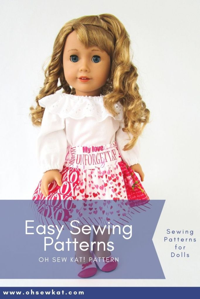 This Valentine's Day, show your 18 inch doll some love with beautiful DIY doll clothes you make yourself with easy PDF Sewing patterns from OH Sew Kat! Print at home patterns with full photo tutorials make it easy to sew your own doll clothes, even for a beginner.