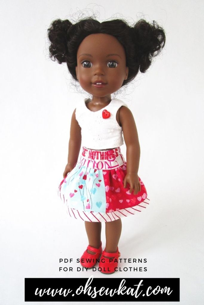 This Valentine's Day, show your Welliewishers doll some love with beautiful DIY doll clothes you make yourself with easy PDF Sewing patterns from OH Sew Kat! Print at home patterns with full photo tutorials make it easy to sew your own doll clothes, even for a beginner.