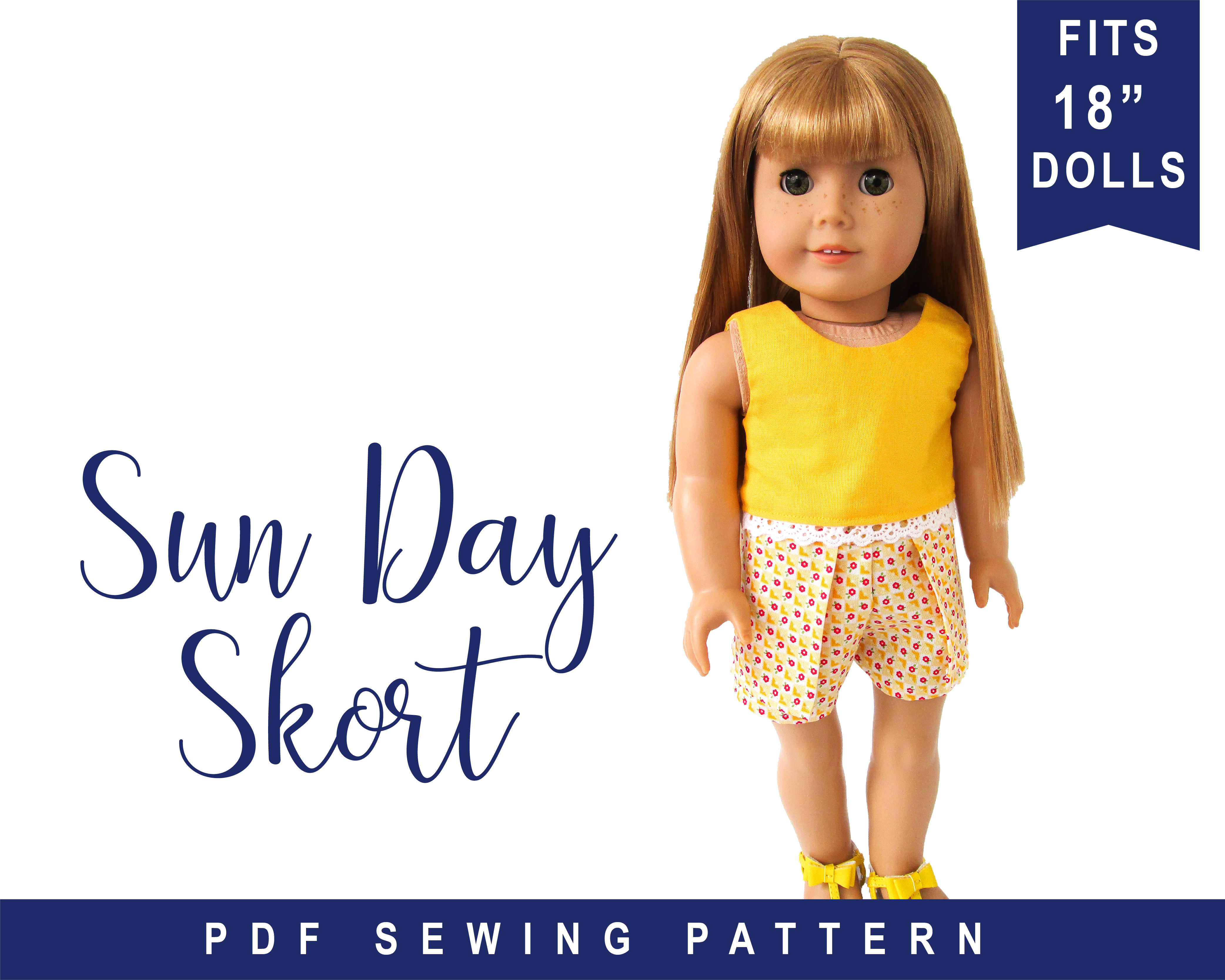 Get your doll ready for the warm weather with the quick and easy Sun Day Skort PDF sewing pattern for 18 inch dolls. Find more patterns from Oh Sew Kat! for DIY doll clothes and other fun doll crafts and tutorials.