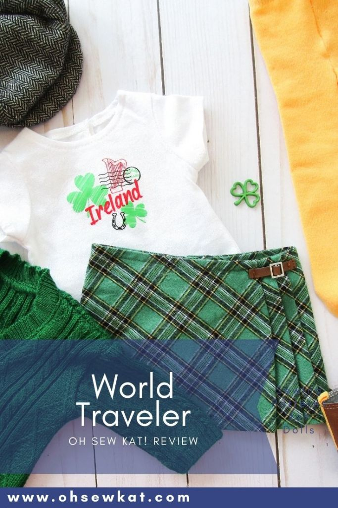 American Girl Outfit Review- World Traveler in Ireland. OhSewKat review of the skirt, Irish sweater, tee shirt and tam outfit produced and sold for American Girl. Diy your own doll clothes with easy sewing patterns for 18 inch dolls by Oh Sew Kat!