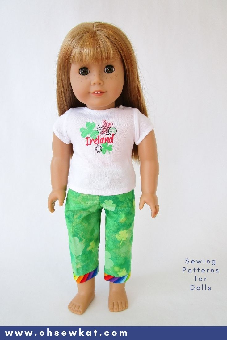 American Girl Doll pajama pants with shamrocks and rainbow cuffs- perfect with the World Traveler Ireland tee from American Girl.