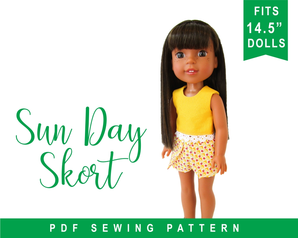 Use the Sun Day Skort PDF sewing pattern to make easy doll clothes for 14 inch dolls like Wellie Wishers, Glitter Girls, and more from American Girl.