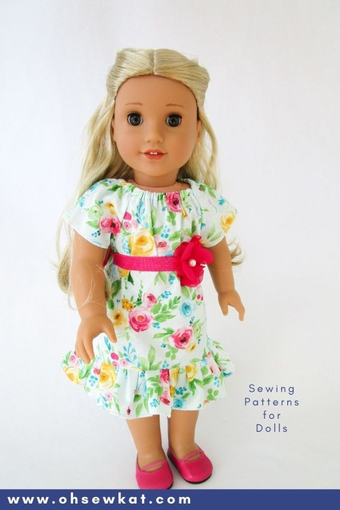 Use the simple to sew Playtime Peasant Top pattern to make a cute, spring dress for your 18 inch doll like Kira Bailey from American Girl. Find more beginner level sewing patterns in the Oh Sew Kat etsy shop.