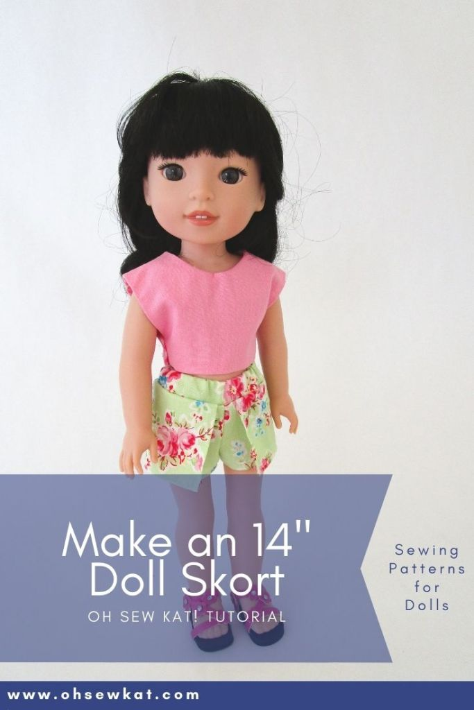 Use the simple to sew Sun Day Skort pattern to make your own doll clothes for 14 inch dolls like Welliewishers and 15 inch dolls like Ruby Red Fashion Friends with easy PDF sewing patterns from OhSewKat!