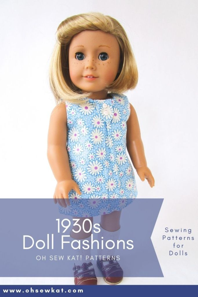 Use Oh Sew Kat!'s School Bell Blouse pattern to make a cute 30s style feedsack dress for American Girl dolls Kit and ruthie. Find more patterns for 18 inch dolls in the OhSewKat etsy shop.
