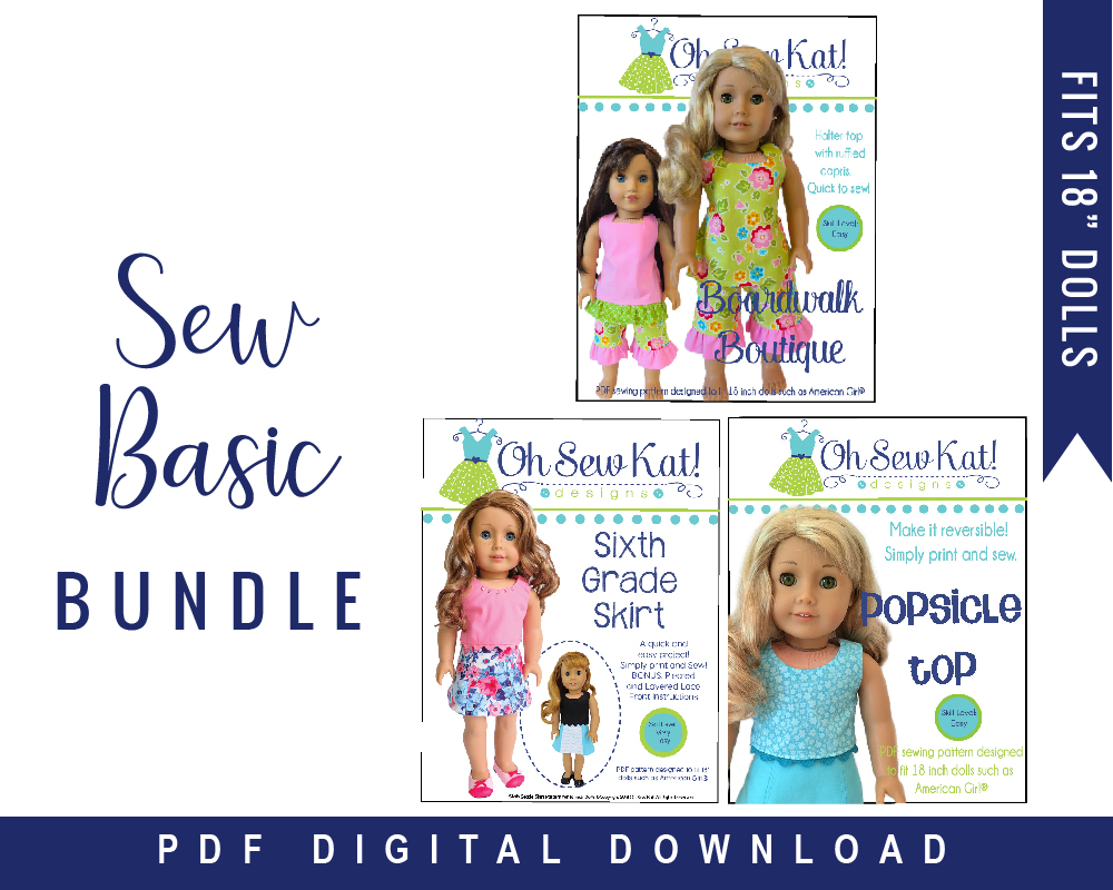 Make your 18 inch doll a basic wardrobe with this easy PDF pattern bundle for doll clothes by Oh Sew Kat on Etsy.