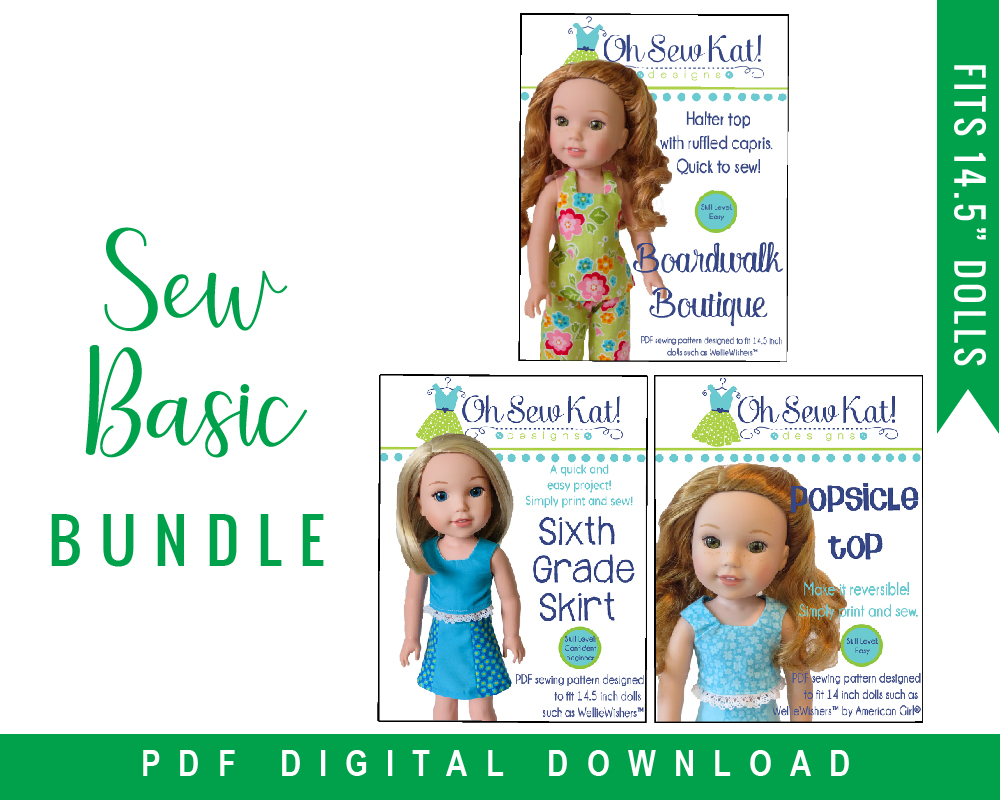 Make your 14 inch doll a basic wardrobe with this easy PDF pattern bundle for doll clothes by Oh Sew Kat on Etsy.