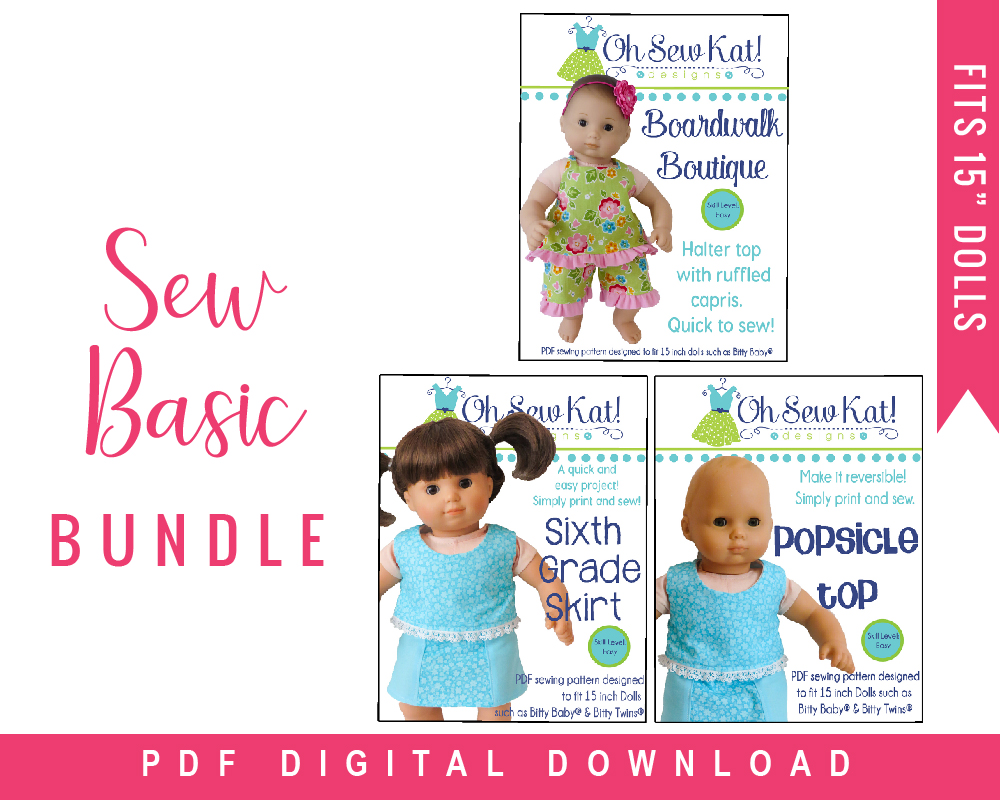 Make your 15 inch baby doll a basic wardrobe with this easy PDF pattern bundle for doll clothes by Oh Sew Kat on Etsy.
