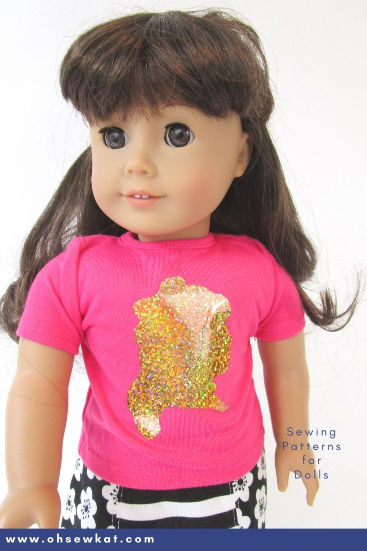 Make a Samantha Parkington Fan Tee Shirt: Let your doll show that she's an American Girl doll fan with these easy to make doll graphic tees. Use a cricut, cameo or Brother scan n cut to add HTV to any doll shirt. Find the tutorial from OhSewKat!