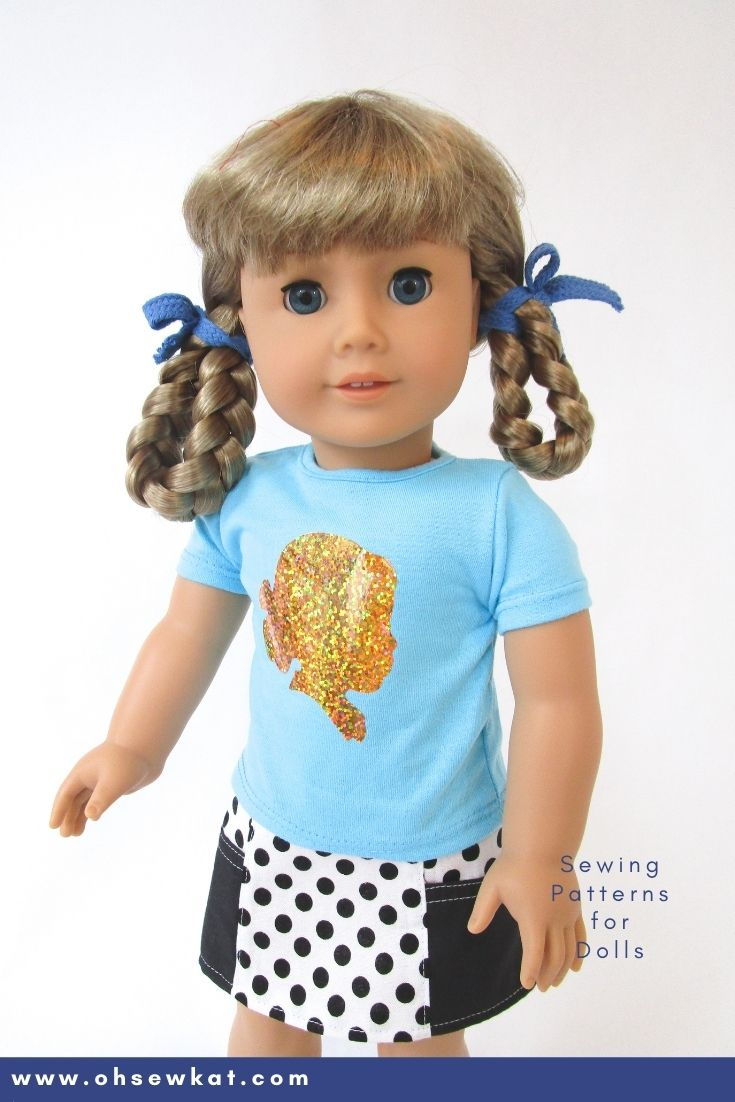 Make a Kirsten Larson Tee Shirt: Let your doll show that she's an American Girl doll fan with these easy to make doll graphic tees. Use a cricut, cameo or Brother scan n cut to add HTV to any doll shirt. Find the tutorial from OhSewKat!