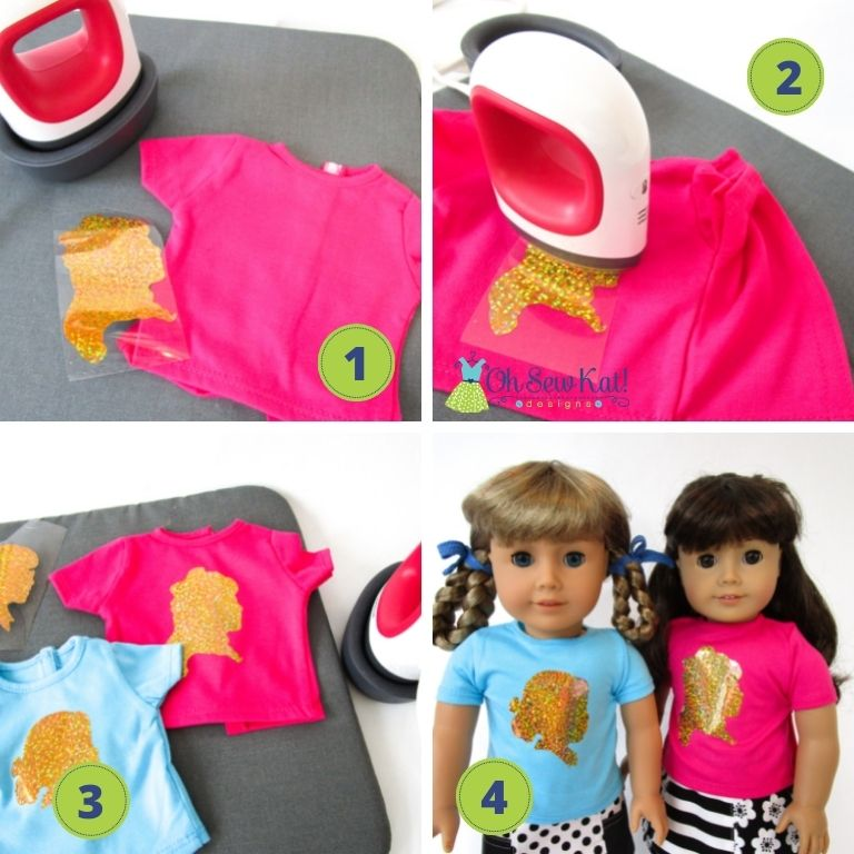 Let your doll show that she's an American Girl doll fan with these easy to make doll graphic tees. Use a cricut, cameo or Brother scan n cut to add HTV to any doll shirt. Find the tutorial from OhSewKat!