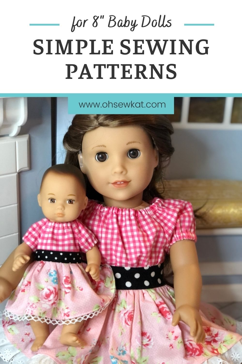 Make an easy doll dress for your 8 inch Caring for Baby doll from American Girl. This PDF sewing pattern is tiny but has simple instructions and will walk you through the tutorial to create your own doll clothes for the tiny baby doll.