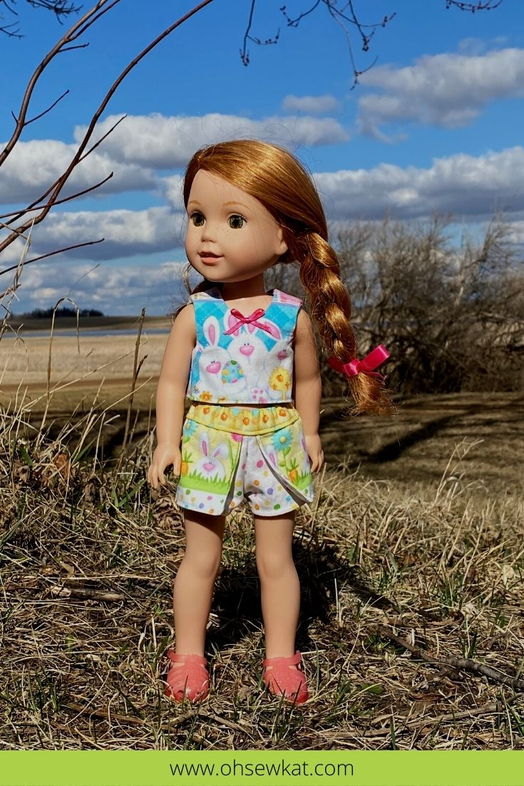 Make a cute and quick scooter Easter skirt or skort for your 14.5 inch dolls like Welliewishers and 15 inch dolls like Ruby Red Fashion Friends with the Sun Day Skort PDF Sewing Pattern for Dolls from Oh Sew Kat!