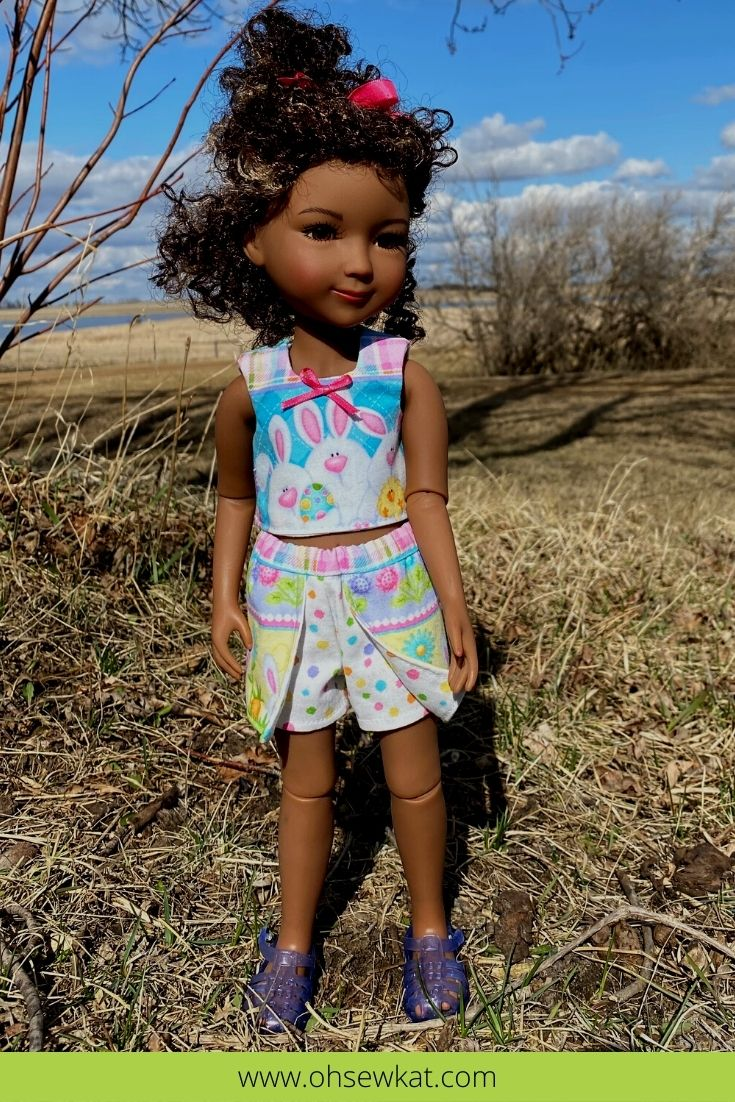 Make a cute and quick Easter scooter skirt or skort for your 14.5 inch dolls like Welliewishers and 15 inch dolls like Ruby Red Fashion Friends with the Sun Day Skort PDF Sewing Pattern for Dolls from Oh Sew Kat!