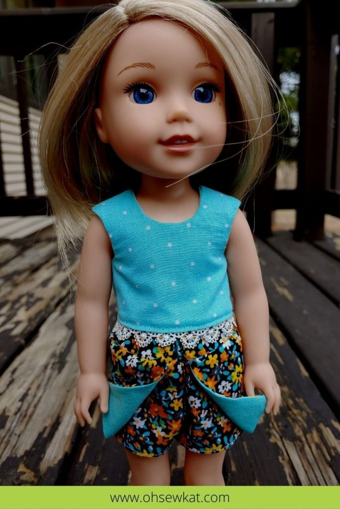 Make a cute and quick scooter skirt or skort for your 14.5 inch dolls like Welliewishers and 15 inch dolls like Ruby Red Fashion Friends with the Sun Day Skort PDF Sewing Pattern for Dolls from Oh Sew Kat!