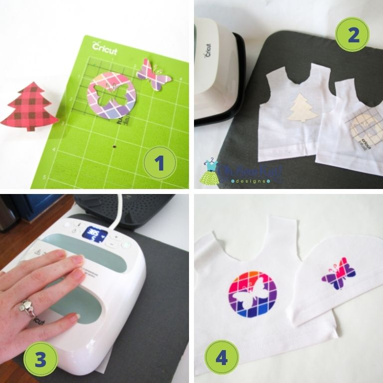Create your own custom doll tee shirts with Cricut and Infusible Ink transfer sheets. Find a quick and easy tutorial to turn an adult shirt into many doll tees that you can design and sew yourself at OhSewKat!