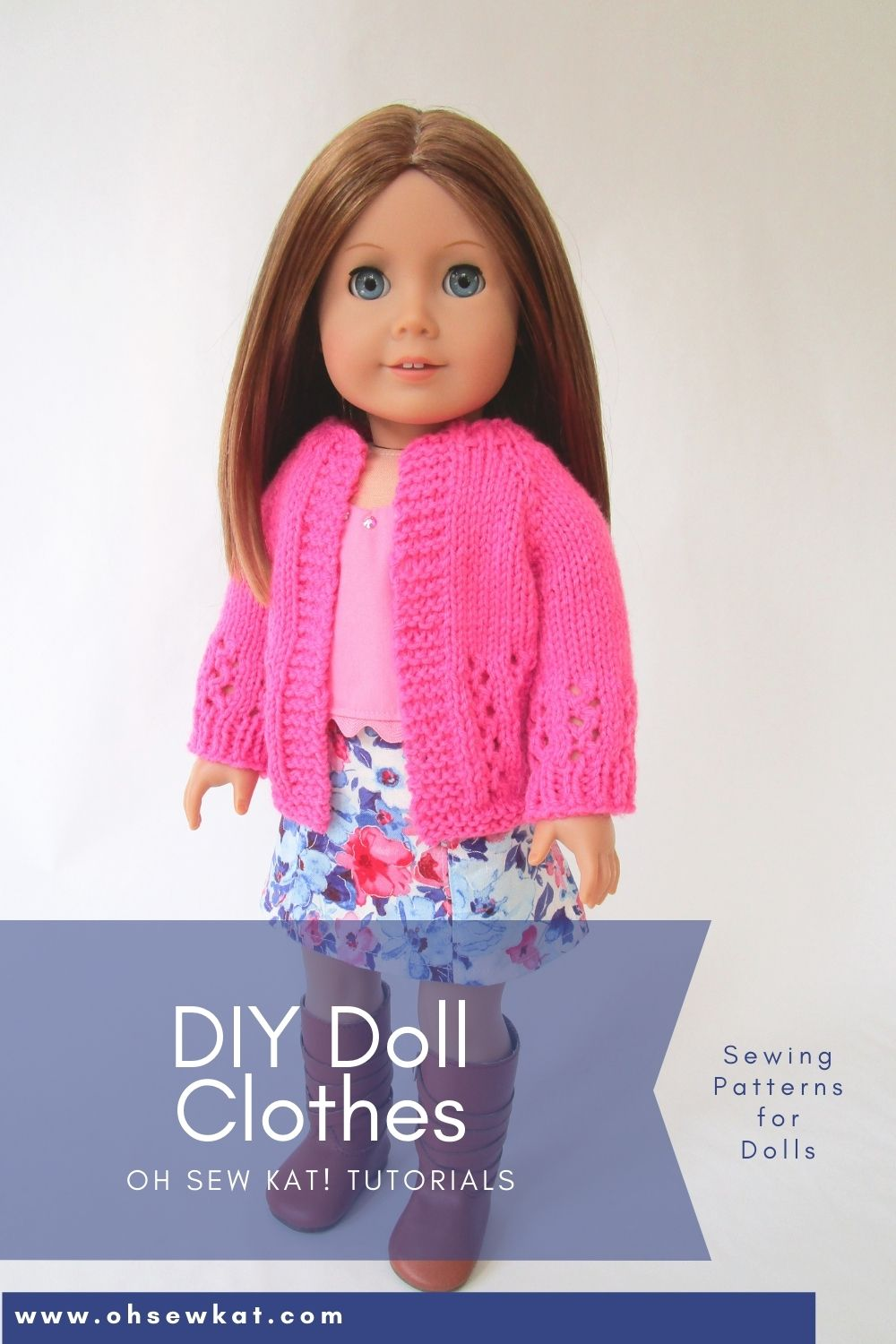 Create your own fashion forward wardrobe for your 18 inch doll with easy PDF sewing patterns and simple knitted sweaters for dolls.