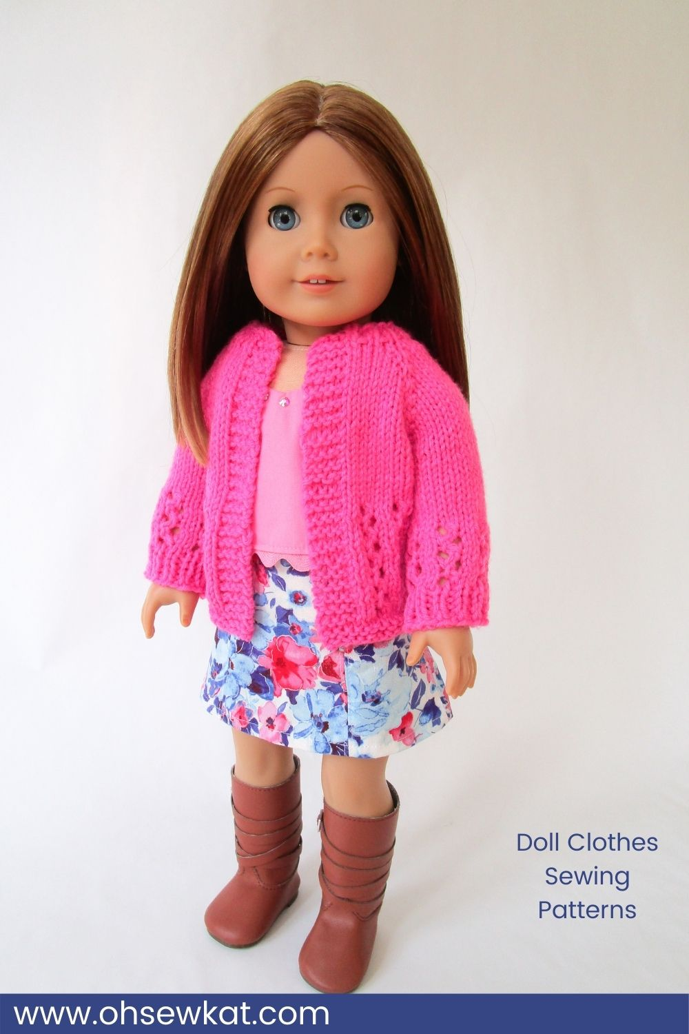 DIY your own doll clothes with easy to sew PDF patterns from Oh Sew Kat! Emily is wearing a Popsicle Top, Sixth Grade Skirt, and a Karina sweater.