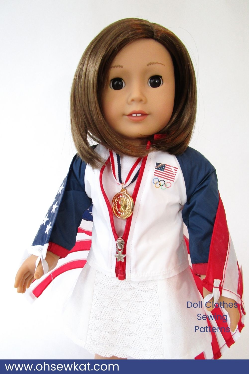 American Girl Outfit Review- Team USA Medal Ceremony Set. OhSewKat review of the jacket, flag, olympic medals outfit produced and sold for American Girl. Diy your own doll clothes with easy sewing patterns for 18 inch dolls by Oh Sew Kat!
