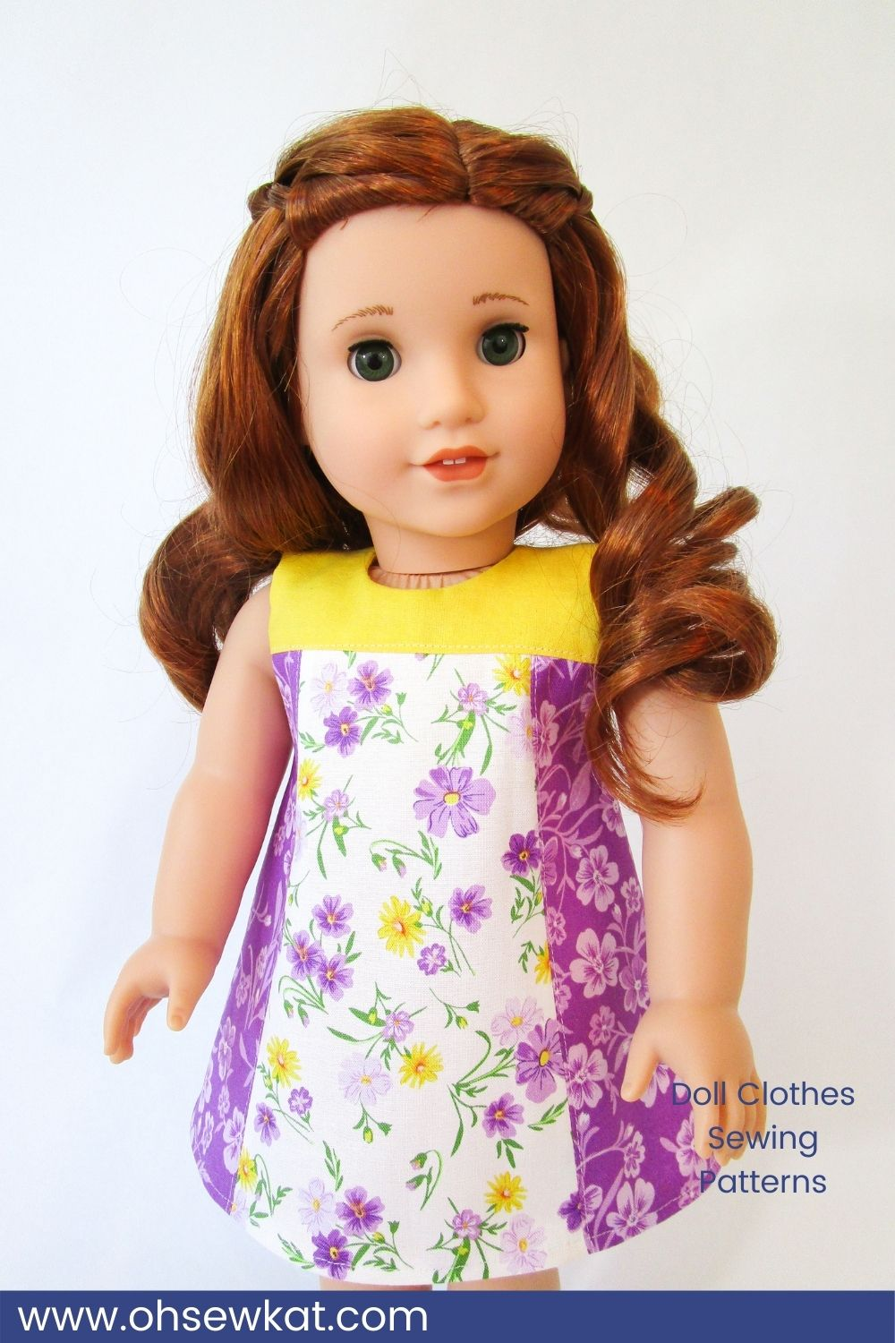 Make an easy colorblock sundress for your 18 inch American Girl doll with the Summertime Stroll PDF sewing pattern from Oh Sew Kat! Choose your own look and DIY your doll clothes to match your girl's style. Find more easy to sew beginner level patterns at Oh Sew Kat!