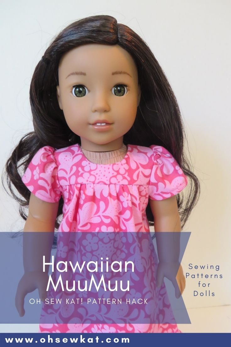 Make a muumuu dress with this easy pattern hack of the Bloomer Buddies PDF sewing pattern for 18 inch dolls like American Girl. Make a diy doll clothes wardrobe.
