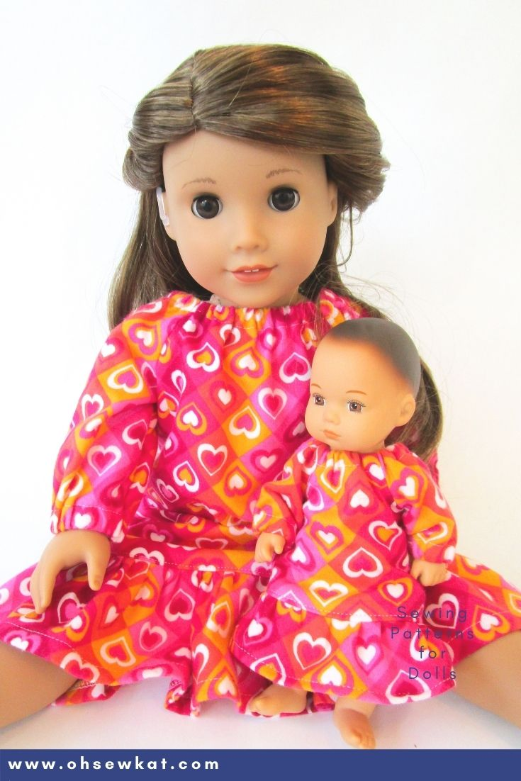 Make your 8 inch American Girl Caring for Baby doll a cozy nightgown with the Oh Sew Kat! Playtime Peasant Top PDF sewing pattern. Easy to sew and you can DIY your entire doll clothes fashion wardrobe. Find a full selection of patterns at Oh Sew Kat!