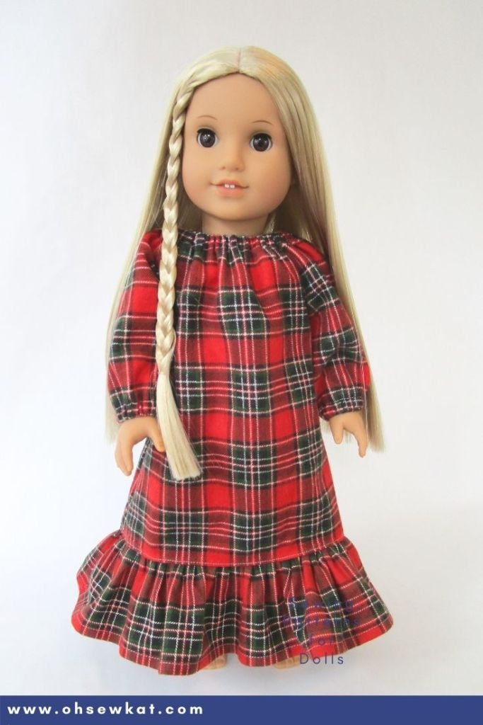 Make a 70s plaid nightgown for Julie Albright American Girl doll Beforever Character with the pattern hack from Oh Sew Kat! and the PDF Sewing pattern: Playtime Peasant Top.
