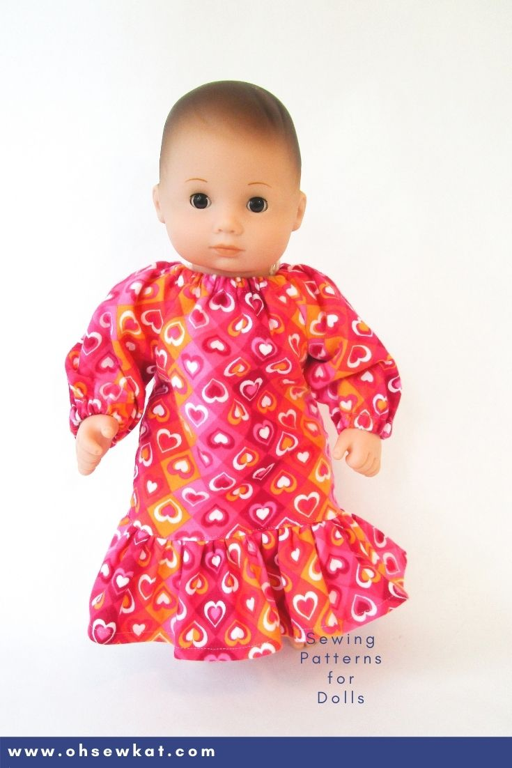 Make your 15 inch American Girl Bitty Baby doll a cozy nightgown with the Oh Sew Kat! Playtime Peasant Top PDF sewing pattern. Easy to sew and you can DIY your entire doll clothes fashion wardrobe. Find a full selection of patterns at Oh Sew Kat! Also fits Bitty Twins.