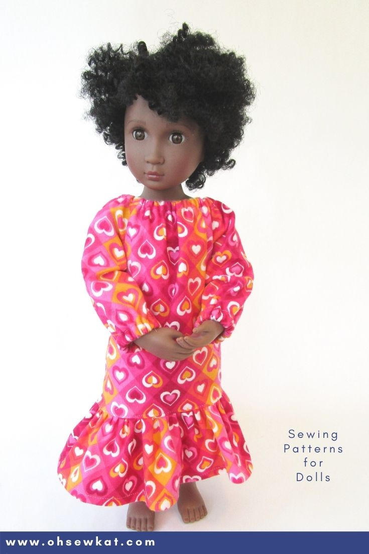 Make your 16 inch A Girl for All Time doll a cozy nightgown with the Oh Sew Kat! Playtime Peasant Top PDF sewing pattern. Easy to sew and you can DIY your entire doll clothes fashion wardrobe. Find a full selection of patterns at Oh Sew Kat!