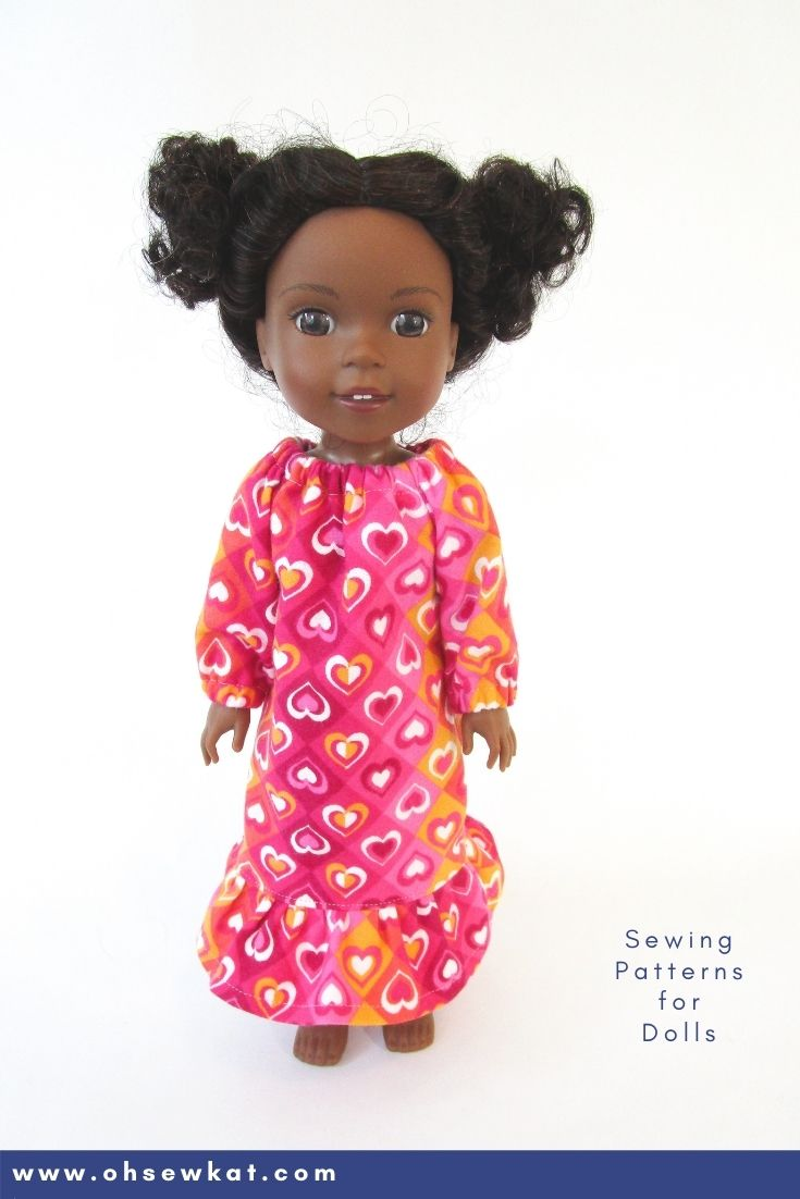 Make your 14.5 inch Welliewishers American Girl doll a cozy nightgown with the Oh Sew Kat! Playtime Peasant Top PDF sewing pattern. Easy to sew and you can DIY your entire doll clothes fashion wardrobe. Find a full selection of patterns at Oh Sew Kat!
