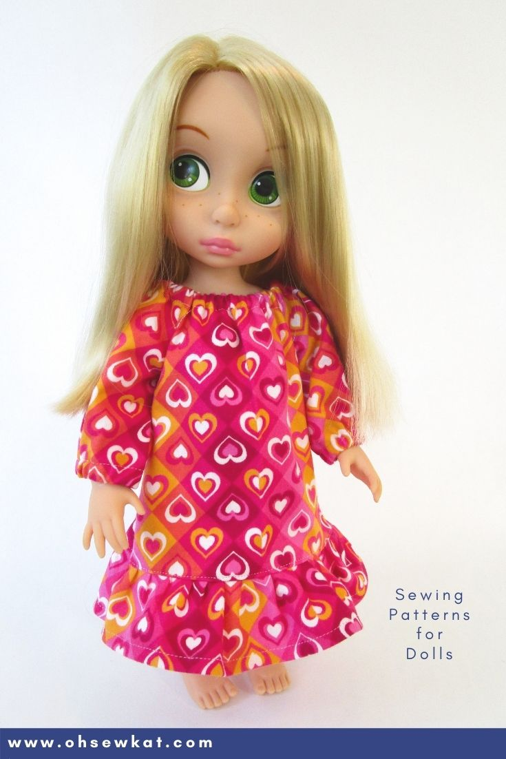 Use the easy to sew Playtime Peasant Top PDF Sewing pattern to make a long, cozy nightgown for your favorite 16 inch Disney Animators Doll. Great gifts for granddaughters, daughters and nieces! More styles of print at home beginner level sewing patterns available.
