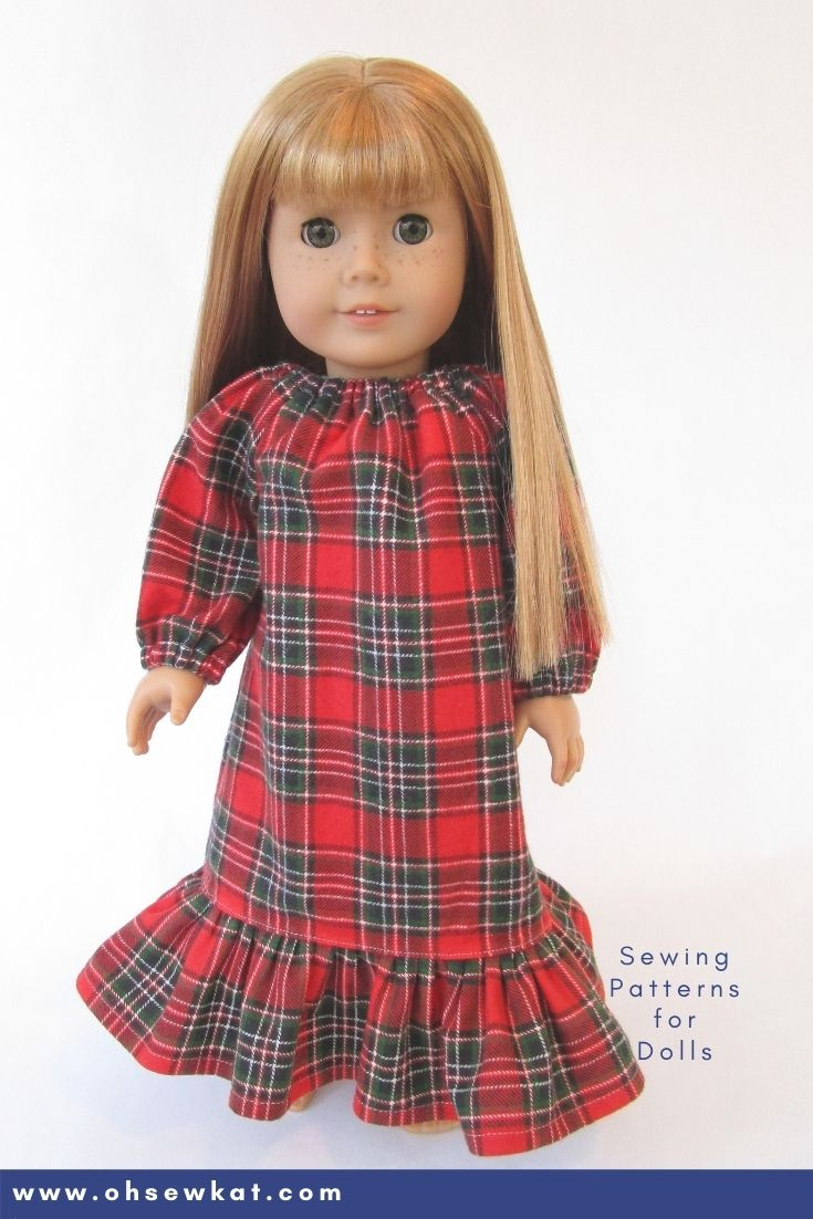 Make a beautiful plaid flannel nightgown for your 18 inch American Girl or other sized doll with the pattern hack from Oh Sew Kat! and the Playtime Peasant Top PDF sewing Pattern.