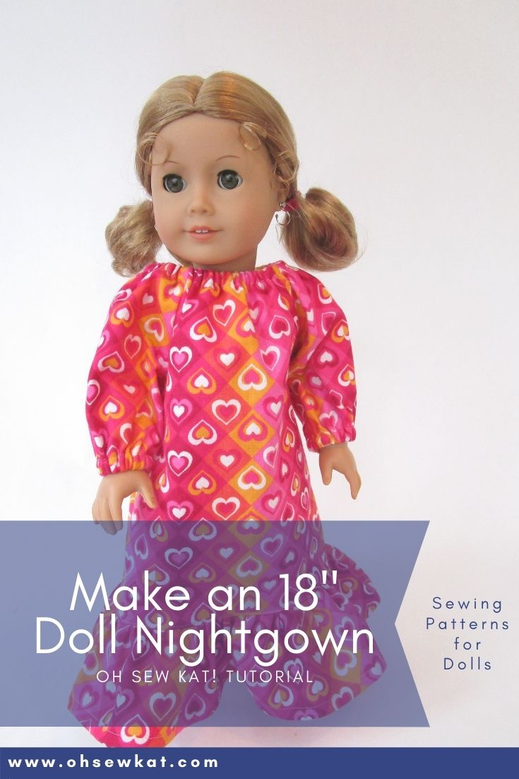 Make your 18 inch American Girl doll a cozy nightgown with the Oh Sew Kat! Playtime Peasant Top PDF sewing pattern. Easy to sew and you can DIY your entire doll clothes fashion wardbrobe. Find a full selection of patterns at Oh Sew Kat!