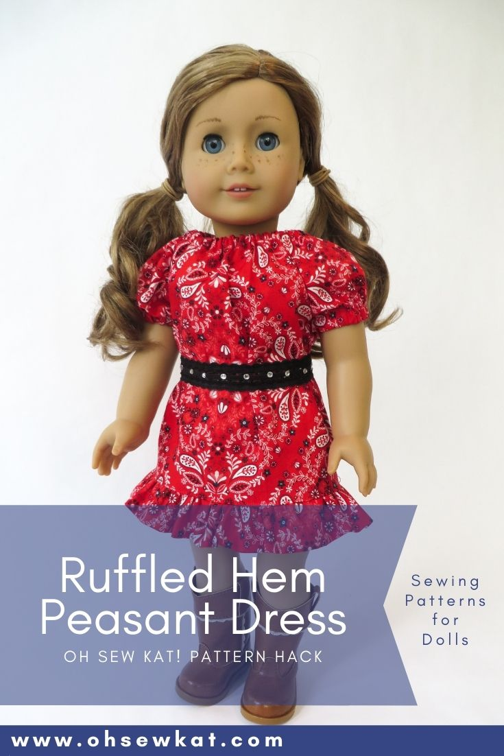 Make a western themed ruffle peasant top dress for 18 inch dolls like American Girl and 14 inch dolls like Wellie wishers with easy to sew PDF sewing patterns from Oh Sew Kat!