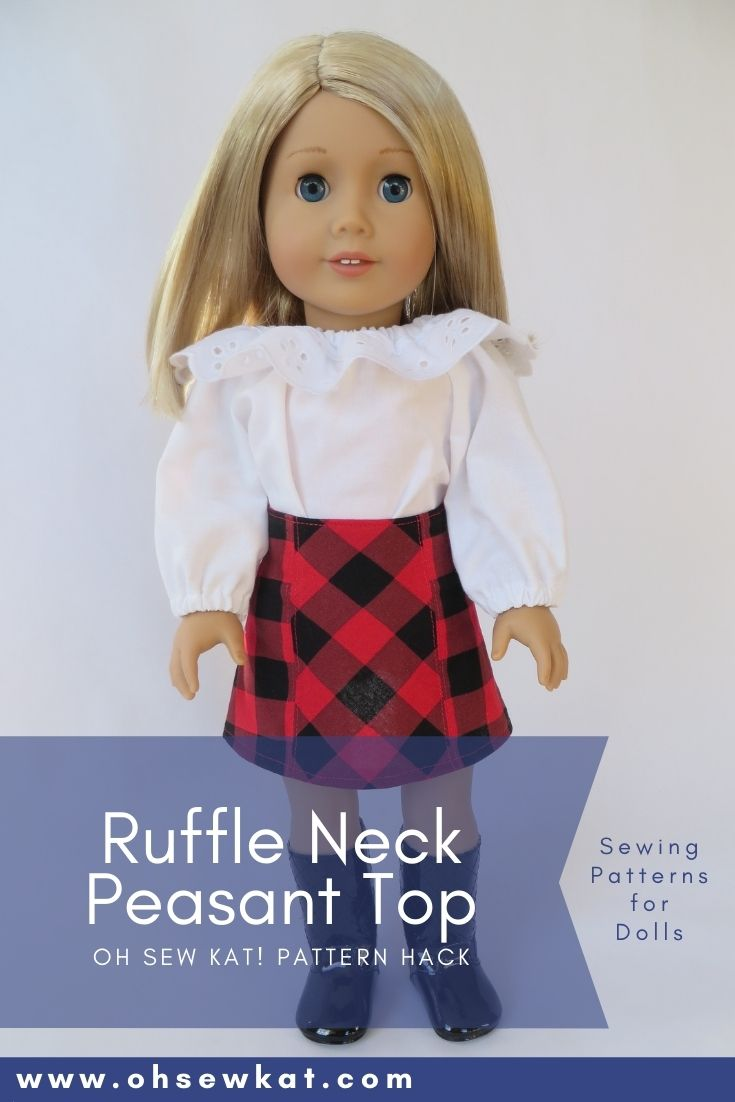 Add a lace ruffle to the Playtime Peasant Top PDF Sewing Pattern by Oh Sew Kat! Use digital sewing patterns to diy doll clothes for 18 inch American Girl Dolls.