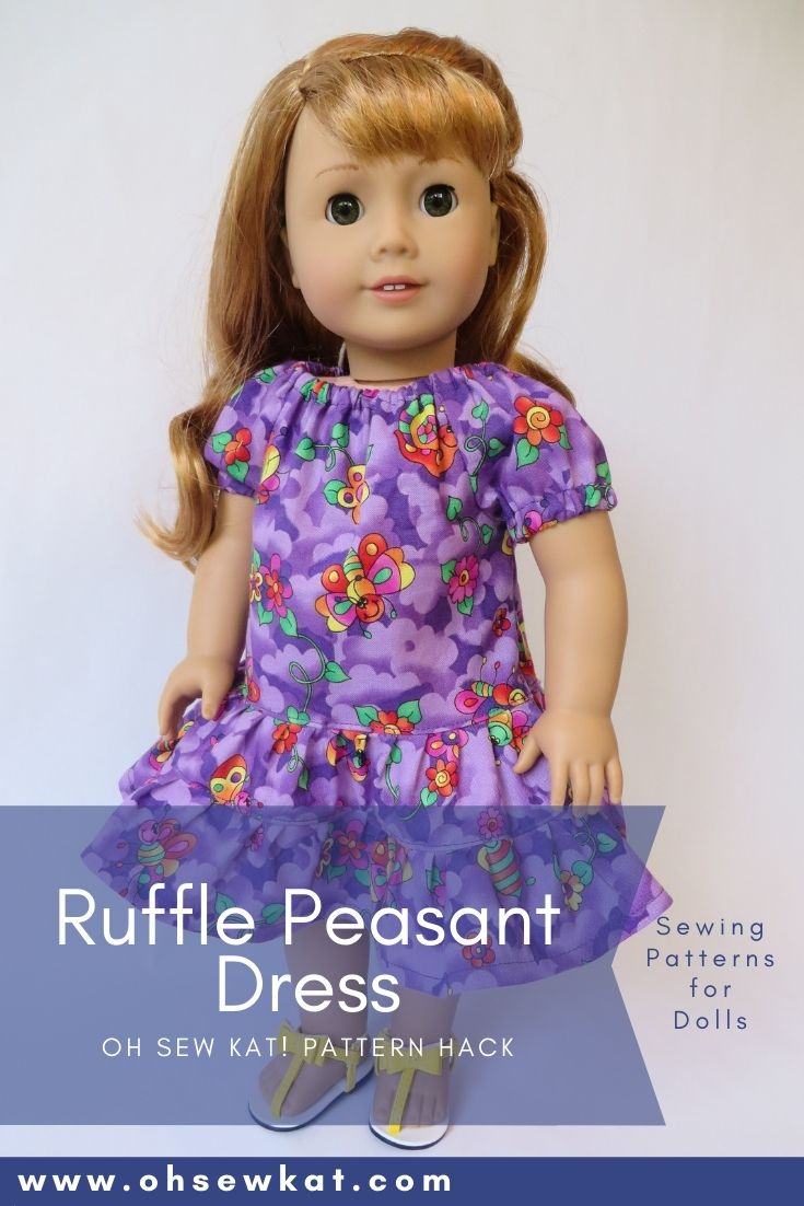 Use the Playtime Peasant Top PDF sewing pattern from Oh Sew Kat! to make a ruffle dress for 18 inch dolls like American Girl. Easy to sew tutorials and digital downloads.