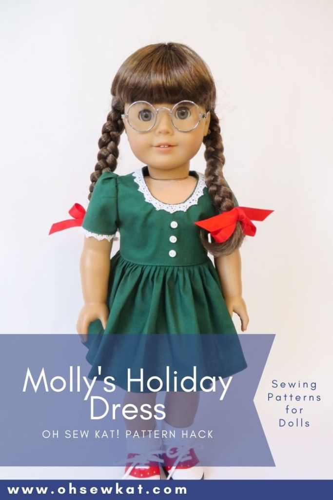 Make Molly's green holiday dress with this easy hack of the Sugar n Spice PDF sewing pattern for 18 inch American Girl dolls by OhSewKat