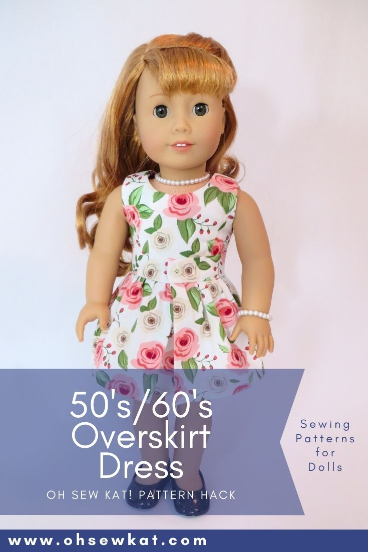 Use the Sugar n Spice and Sunshine Dress patterns from Oh Sew Kat! to make a 50s or 60s overskirt dress for your American Girl Dolls.