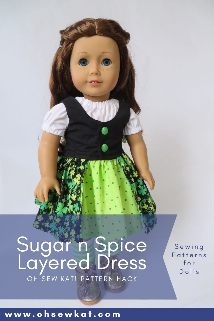 Use the Sugar n Spice PDF sewing pattern to make a layered skirt and vest Irish dress for 18 inch American Girl dolls. PDF Sewing patterns from Oh Sew Kat! are beginner level to download and print at home.