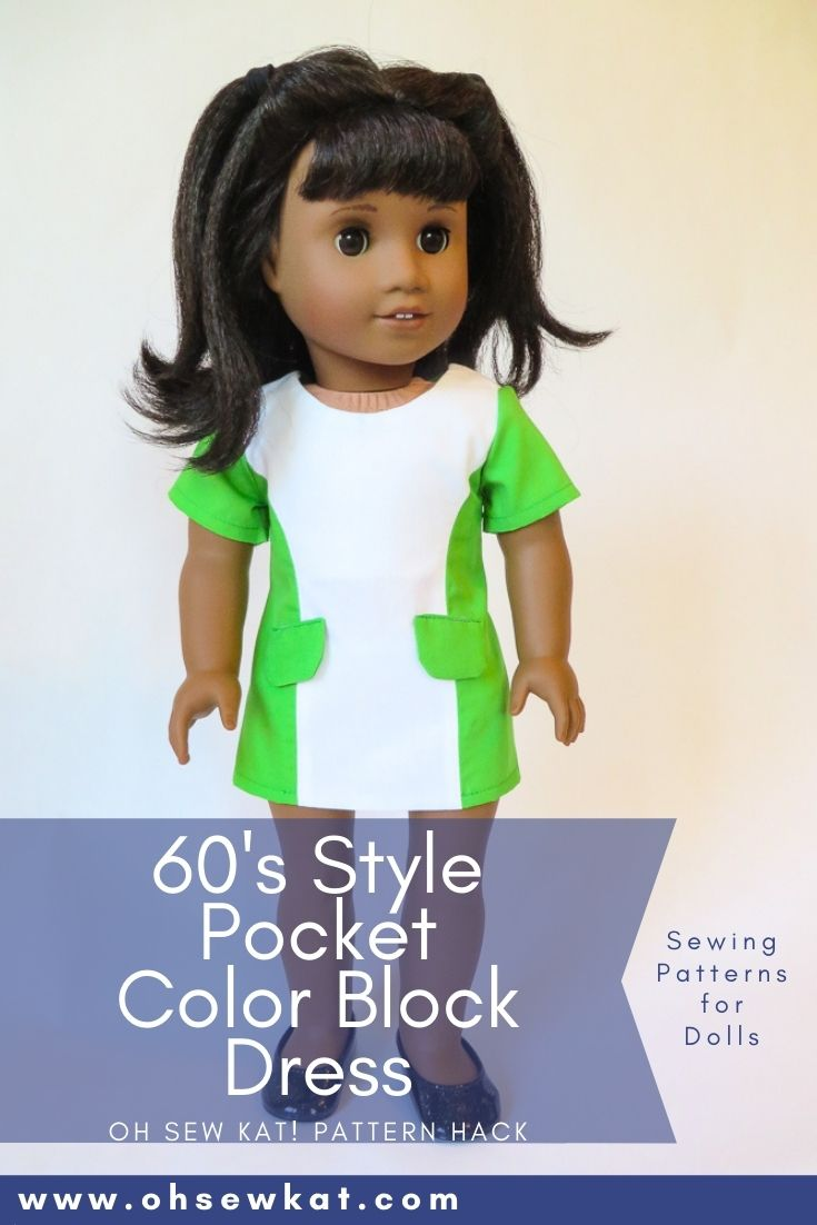 Use this easy pattern hack to make your Melody American Girl doll a color block 60s dress. The easy to sew Sunshine Dress PDF Sewing pattern from OH Sew Kat!
