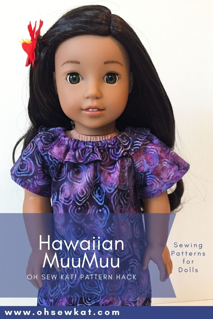 Make Nanea American Girl Doll a muu muu inspired by Hawaii! Use this easy pattern hack tutorial of the Playtime Peasant Top PDF Sewing pattern for all American Girl doll clothes. Find more patterns at Oh Sew Kat!