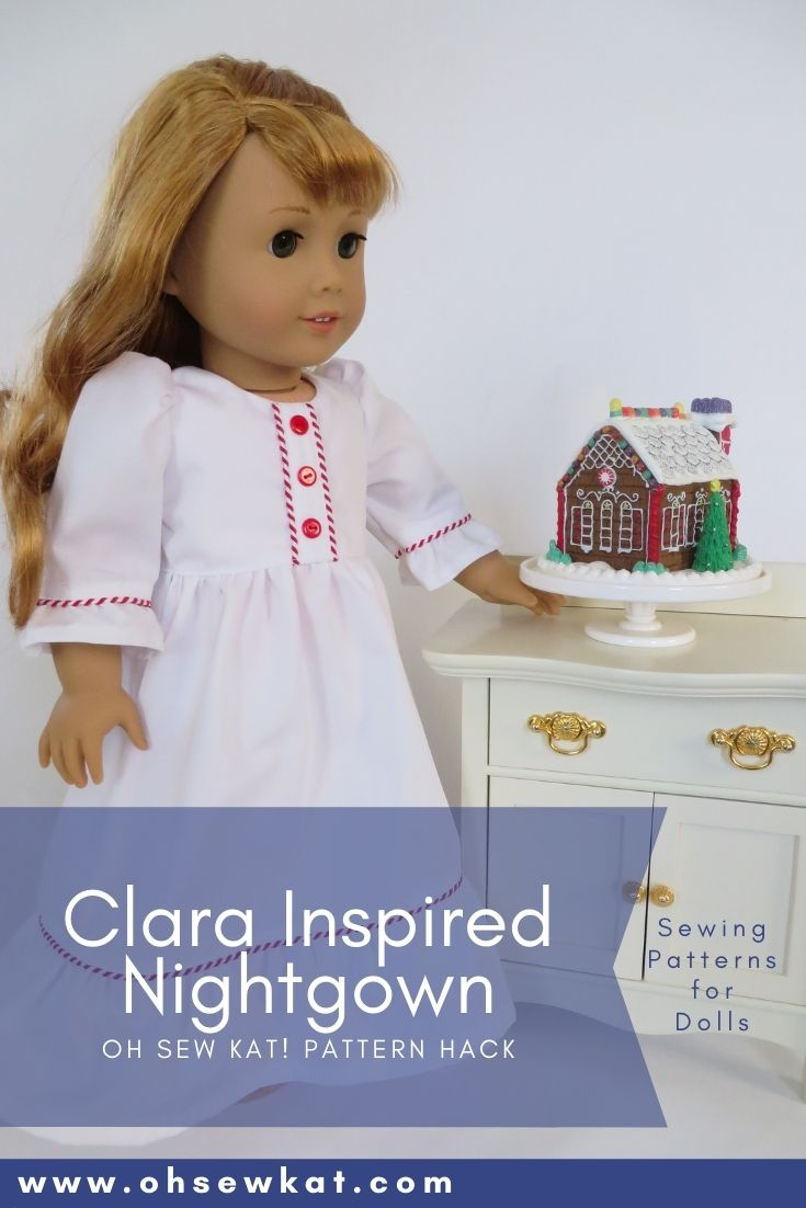 Make your 18 inch American Girl doll a Clara Nutcracker inspired nightgown with this tutorial for the Sugar n Spice PDF Sewing Pattern from Oh Sew Kat!