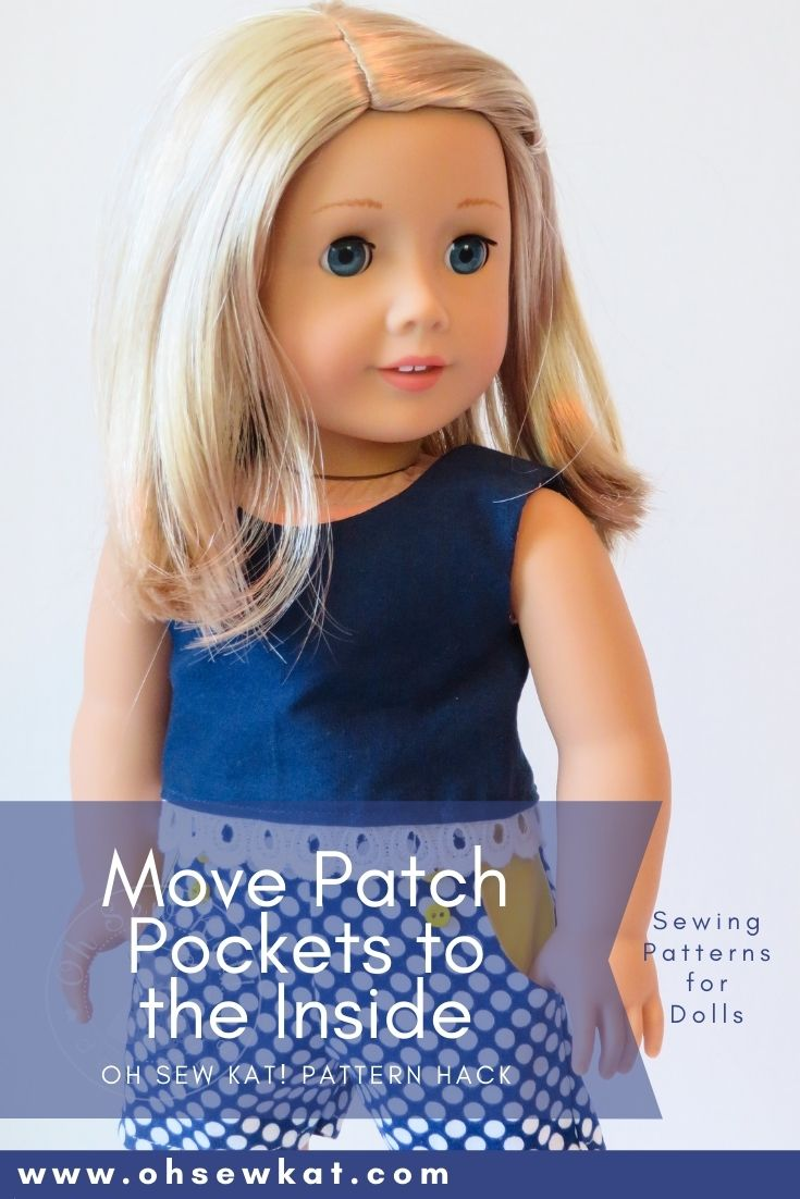 Move the outside patch pockets of the Sandbox Shorts PDF doll sewing pattern to the inside to give a trendy new look- diy your 18 inch American Girl doll wardrobe at oh sew Kat!